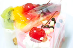 Fruit Cake, Yogurt Strawberry Cake.  Royalty Free Stock Images