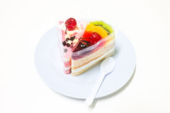 Fruit Cake, Yogurt Strawberry Cake. In dish on white background Royalty Free Stock Images