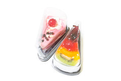 Fruit Cake, Yogurt Strawberry Cake. On white background Stock Photos