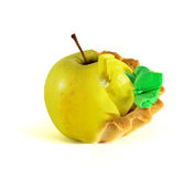 Fruit or cakes, choice. Isolated on white background Royalty Free Stock Photo