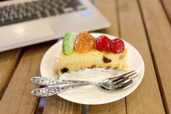 Fruit cakes of healthy food on a table. Stock Images