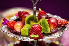 Fruit canape snack Royalty Free Stock Images