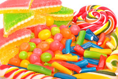 Fruit candies, sweet dragee, gums isolayed Royalty Free Stock Photography