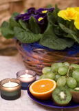 Fruit and candles composition. Grapes and kiwis composition, decorated with some candles royalty free stock images