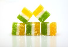 Fruit candy. Multi-coloured fruit candy on a white background Stock Photos
