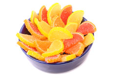 Fruit candy on a blue plate Stock Images