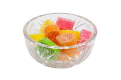 Fruit candy. In a glass vase Stock Photos