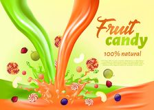 Fruit Candy 100 Percent Natural Landing Page. vector illustration