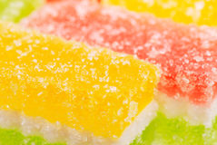 Fruit candy slices on the white Royalty Free Stock Photos