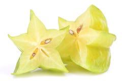 Carambola fruit. Fruit of a carambola on a white background stock images