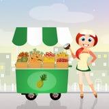 Fruit cart Stock Photos
