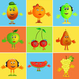 Fruit cartoon collage Royalty Free Stock Photography