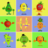 Fruit cartoon collage Royalty Free Stock Image