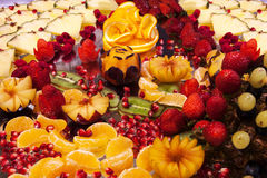 Fruit carved  beautiful shapes Stock Photo