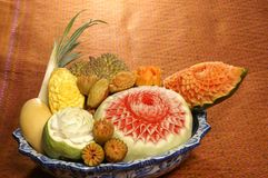 Fruit carving Stock Photography