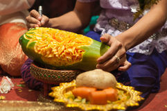 Fruit carving. Art of Thailand for punctilious food royalty free stock image
