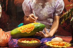Fruit carving. Art of Thailand for punctilious food stock image
