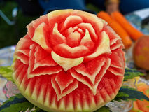 Fruit carving food sculpture art Stock Photos