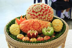 Fruit carving. Food and Fruit Carving of Thailand Stock Photography