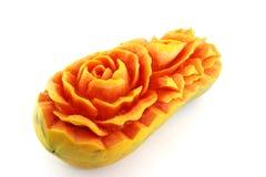 Fruit carving, Papaya flower detail Royalty Free Stock Images