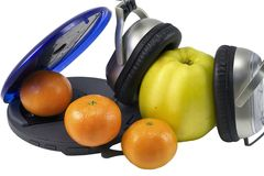 Fruit and CD Player Stock Photography