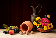 Fruit with ceramic dish and vase Stock Photo