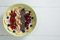 Fruit cereal in bowl Royalty Free Stock Photos