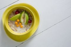 Fruit cereal in bowl Stock Images