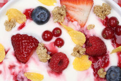 Fruit cereals yogurt for breakfast from above Royalty Free Stock Photography