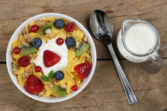 Fruit cereals with yogurt and milk from above Royalty Free Stock Photos