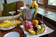 Fruit and champagne composition Royalty Free Stock Image