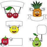 Fruit Characters & Posters [2]. Collection of five funny cartoon fruit characters (pear, cherries, strawberry, lemon and pineapple) with posters or banners Royalty Free Stock Photo