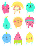 Fruit Characters Set Stock Images