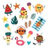 Vector cartoon fruit summer party characters set. Fruit characters at summer party set. Vector watermelon slice dancing, orange in headphones, apple surfing royalty free illustration