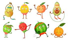 Free Fruit Characters Yoga. Fruits In Fitness Exercises Poses, Wellness Food And Funny Sport Fruit Cartoon Vector Royalty Free Stock Photos - 152208588