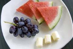 Fruit and cheese. stock photo