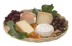 Fruit and cheese basket Royalty Free Stock Image