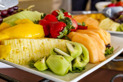 Fruit and Cheese Tray on Display. Tray of assorted fruit at catered event Stock Photography