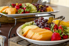 Fruit and Cheese Tray on Display. Tray of assorted fruit at catered event Royalty Free Stock Photos