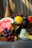 Fruit, cheese and wine Royalty Free Stock Image