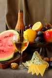 Fruit, cheese and  wine Royalty Free Stock Images
