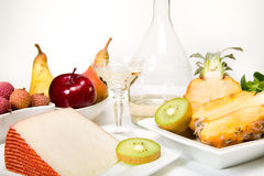 Fruit, cheese and wine Stock Photo