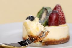 Fruit cheesecake on a fork Stock Images