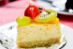 Fruit cheesecake. Recipe on the table Stock Photography