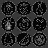 Fruit and cherry icons Royalty Free Stock Photo