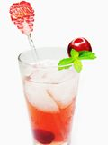 Fruit cherry juice with ice Royalty Free Stock Photo