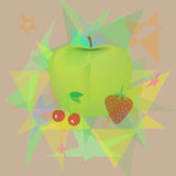 Fruit. Cherry strawberries and apples on abstract background Stock Photos