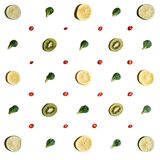 Fruits arranged symetrically. stock photo