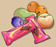 Fruit and chocolate bars Stock Photography