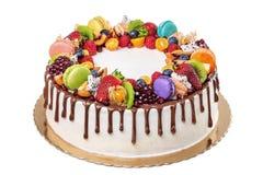 Fruit chocolate birthday cake. On a white background.  Royalty Free Stock Photos